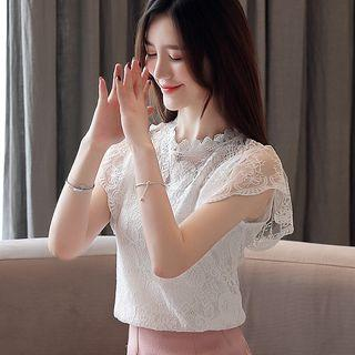 Stand-collar Short-sleeve Lace Top