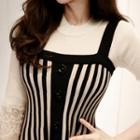 Sleeveless Stripe Knit A-line Dress