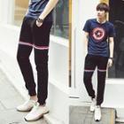 Gather-cuff Stripe Sweatpants