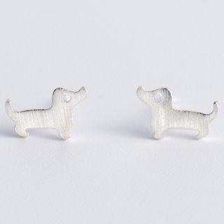 925 Sterling Silver Animal Earring 925 Silver - Dog - One Size