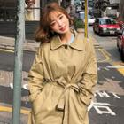 Hidden-button Belted Trench Coat