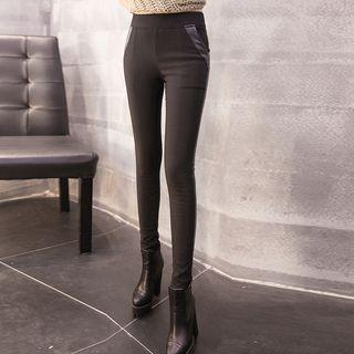 Faux Leather Trim Leggings
