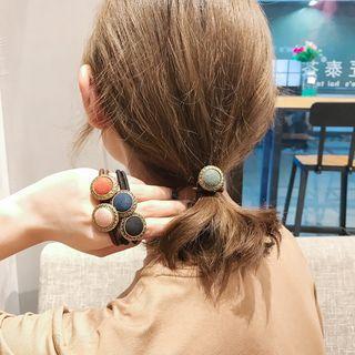 Retro Fabric Button Hair Tie