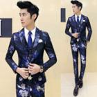 Set: Floral Print Blazer + Vest + Dress Pants