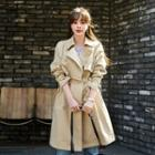 Raglan-sleeve Flap Trench Coat With Belt