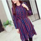 Printed Ruffled Chiffon Dress