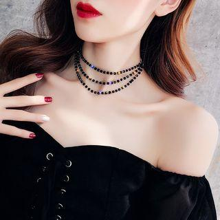 Faux Crystal Layered Choker As Shown In Figure - One Size