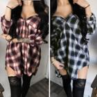 Plaid Off-shoulder Long Shirt