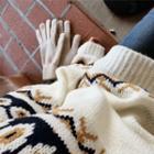 Patterned Rib-knit Sweater
