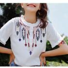 Frill Trim Embroidered Chiffon Blouse
