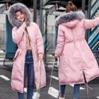 Furry Hood Midi Padded Coat