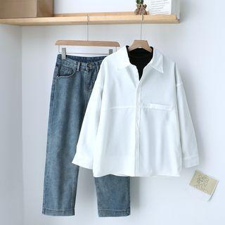 Plain Shirt / Long-sleeve T-shirt / Straight-cut Jeans