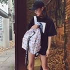 Lettering Strap Patterned Canvas Backpack