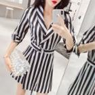 Striped 3/4 Sleeve Playsuit