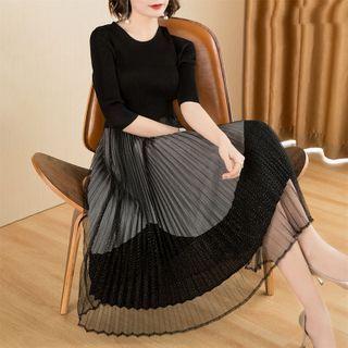 Elbow-sleeve Mesh Overlay A-line Midi Dress Black - One Size