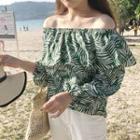 Off-shoulder Print Long-sleeve Chiffon Top