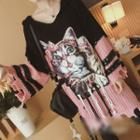 Cat Print Distressed Long Sweater