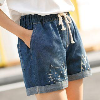 Embroidered Cat Drawcord Shorts