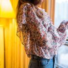 Tie-neck Ruffled Floral Chiffon Top