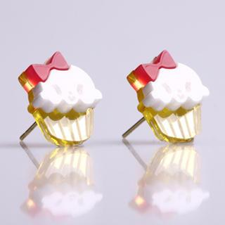 Miss Cupcake White Stud Gold Earrings