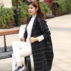 Check Loose-fit Buttoned Coat