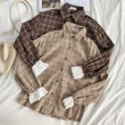 Eyelet Lace Panel Plaid Shirt