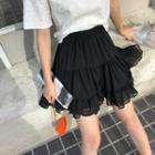 High-waist Plain Ruffled Pleated Layered Skirt