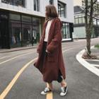 Open-front Hooded Long Chunky Knit Cardigan