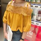 Crochet Off Shoulder 3/4 Sleeve Top