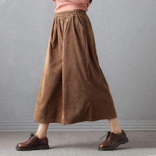 Plus Size Corduroy Cropped Wide-leg Pants