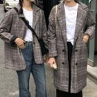 Plaid Double Breasted Long Coat / Coat