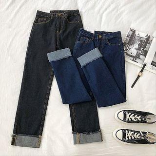 Frayed High-waist Jeans