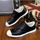 Faux-leather Wing-tip Sneakers