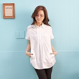 Pleated-trim Short-sleeve Blouse