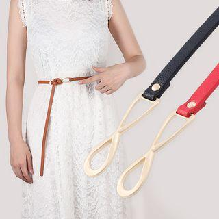 Faux Leather Knotted Slim Belt