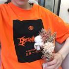 Lettering Elbow-sleeve T-shirt Orange - One Size