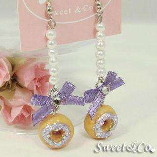 Sweet Purple Glitter Mini Donut Ribbon Pearl Earrings
