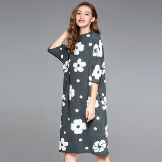 Flower Pattern 3/4-sleeve Knit Dress