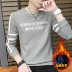 Letter Fleece-lined Long-sleeve T-shirt