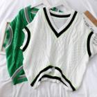 Oversize Colorblock Knit Vest