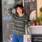 Round Neck Contrast Stripe Sweater