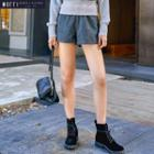 Elastic-waist Wool Shorts