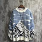 Contrast Color Mountain Print Sweater