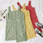 Sleeveless Asymmetric Plaid Shirtdress