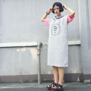 Short-sleeve Hooded T-shirt Dress
