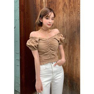 Off-shoulder Buttoned Ruched Blouse
