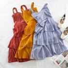Sleeveless A-line Midi Tiered Dress