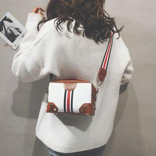 Faux Leather Two Tone Mini Crossbody Bag