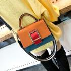 Color Block Buckled Satchel