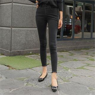 Asymmetric-waist Skinny Pants
